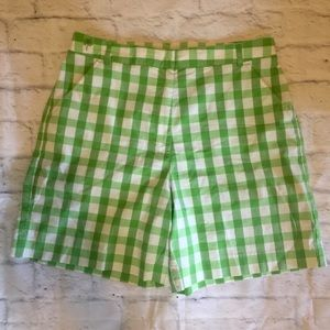 NWOT Lilly Pulitzer Plaid shorts green 10 White